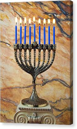 Menorah With Blue Candles Canvas Print by Garry Gay