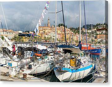 Menton, France.  View Over Harbour Canvas Print by Ken Welsh
