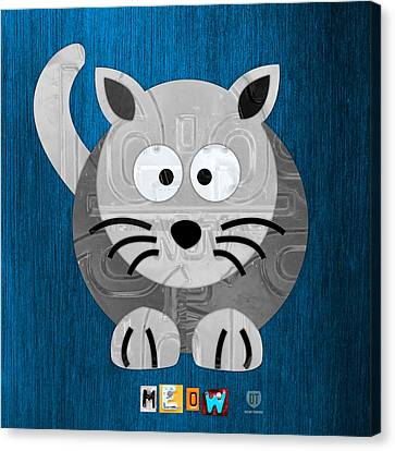 Meow The Cat License Plate Art Canvas Print