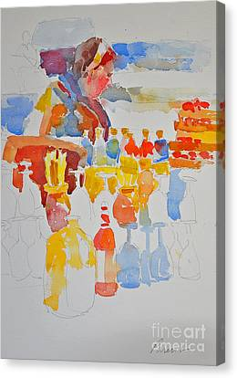 Canvas Print featuring the painting Mercado Lady With Bottles by Roger Parent