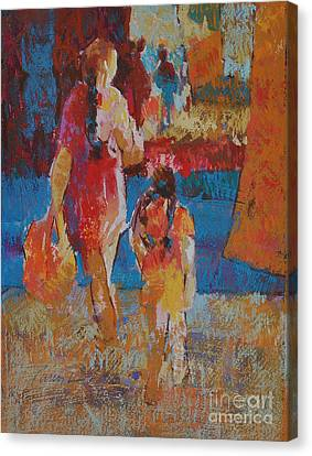 Canvas Print featuring the painting Mercado Mother And Daughter by Roger Parent
