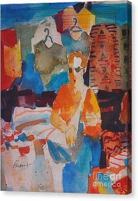 Canvas Print featuring the painting Mercado Tourist With Shirts by Roger Parent