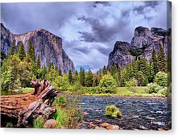 Canvas Print featuring the photograph Merced River Yosemite Valley by Janis Knight