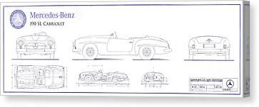 Mercedes Automobile Canvas Print - Mercedes 190sl Cabriolet Blueprint by Jon Neidert