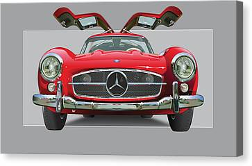 Automotive Illustration Canvas Print - Mercedes 300 Sl Gull Wing by Alain Jamar