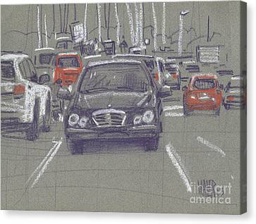 Canvas Print featuring the painting Mercedes by Donald Maier