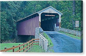 Mercer's Mill Covered Bridge Canvas Print by Michael Porchik