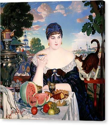 Merchant's Wife At Tea Canvas Print by Mountain Dreams