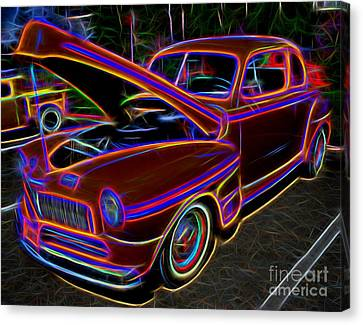 Mercury 8 Classic Car - Neon Canvas Print
