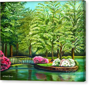 Meredith Lake - Meredith College - Raleigh Nc Canvas Print by Shelia Kempf