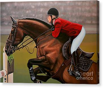 Jumping Horse Canvas Print - Meredith Michaels Beerbaum by Paul Meijering