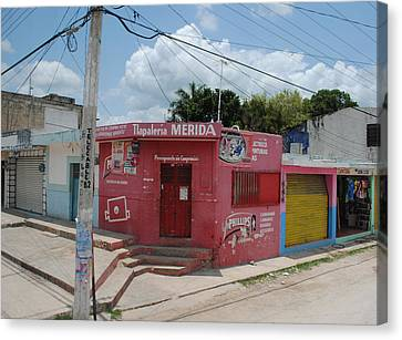 Merida Mexico Street Corner Canvas Print by Robert  Moss