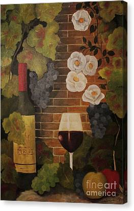Canvas Print featuring the painting Merlot For The Love Of Wine by John Stuart Webbstock