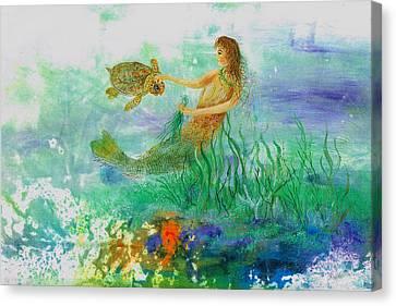Mermaid And Baby Loggerhead Turtle Canvas Print by Nancy Gorr