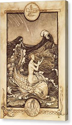 Mermaid And Dolphin From A Midsummer Nights Dream Canvas Print by Arthur Rackham