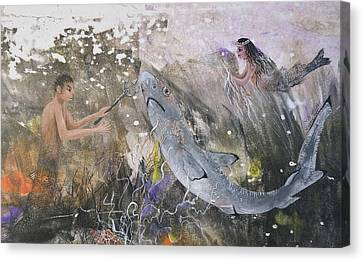Mermaid And Neptune Canvas Print