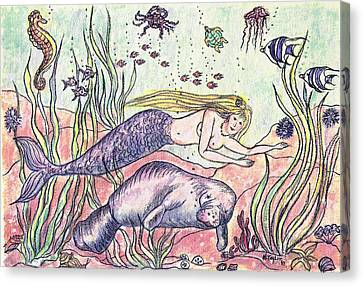 Mermaid And The Manatee Canvas Print by Nancy Taylor