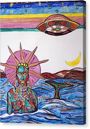 Yemoja Ufo  Canvas Print by Stormm Bradshaw