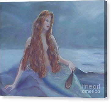 Mermaid In Moonlight Canvas Print