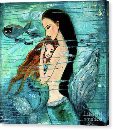Mix Media Canvas Print - Mermaid Mother And Child by Shijun Munns