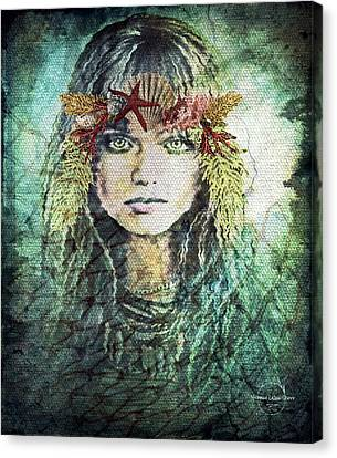Mermaid Of The Deep Canvas Print by Absinthe Art By Michelle LeAnn Scott