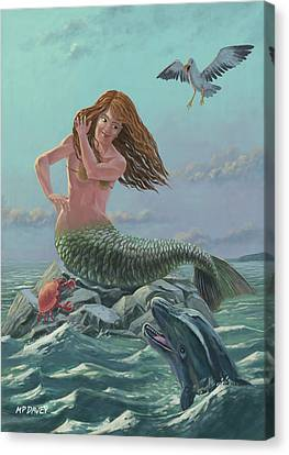 Mermaid On Rock Canvas Print by Martin Davey