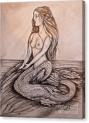 Mermaid On Rock Canvas Print by Valarie Pacheco