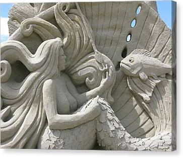 Mermaid Sand Sculpture Canvas Print by Unknown