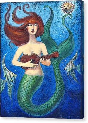 Canvas Print featuring the painting Mermaid Ukulele Angels by Sue Halstenberg