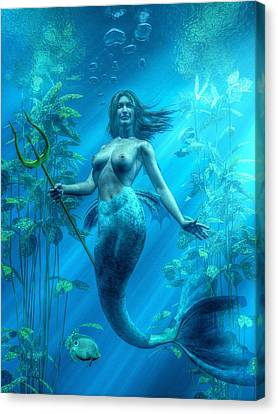 Mermaid Underwater Canvas Print by Kaylee Mason