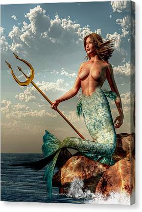 Mermaid With Golden Trident Canvas Print by Kaylee Mason