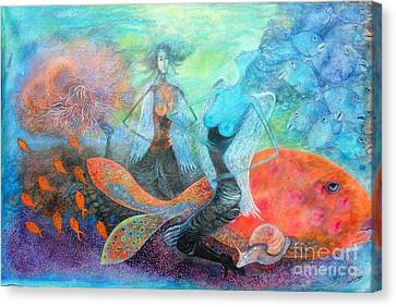 Angel Mermaids Ocean Canvas Print - Mermaid World by Vandana Devendra
