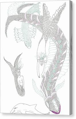 Canvas Print featuring the drawing Mermaids And Sea Dragons by Helen Holden-Gladsky