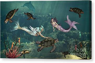 Mermaids At Turtle Springs Canvas Print by Methune Hively