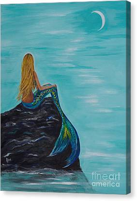 Mermaids Crescent Moon Canvas Print by Leslie Allen