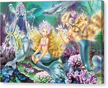 Mermaids Mirror Canvas Print by Zorina Baldescu