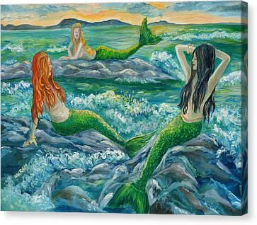 Mermaids On The Rocks Canvas Print by Julie Brugh Riffey