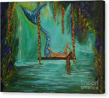 Mermaids Relaxing Evening Canvas Print by Leslie Allen
