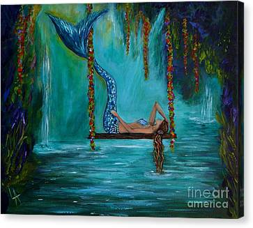 Mermaids Tranquility Canvas Print by Leslie Allen