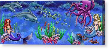 Mermaid's World Canvas Print by Jenny Kirby