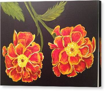 Canvas Print featuring the painting Merrigolds by Brindha Naveen