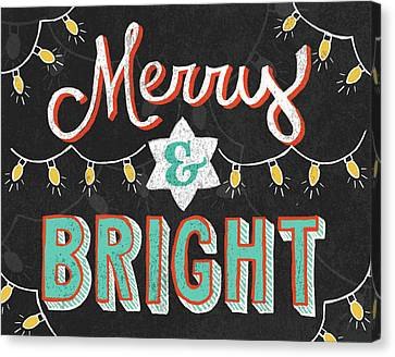 Christmas Lights Canvas Print - Merry And Bright Black by Mary Urban