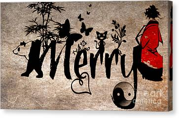 Merry Asian Theme Canvas Print