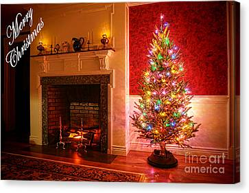 Merry Christmas Fireplace Canvas Print by Olivier Le Queinec