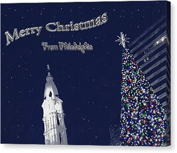 Canvas Print featuring the photograph Merry Christmas From Philly by Photographic Arts And Design Studio