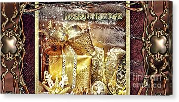 Merry Christmas Gold Canvas Print by Mo T