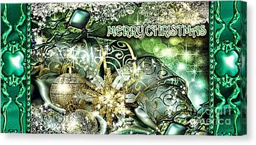 Merry Christmas Green Canvas Print by Mo T