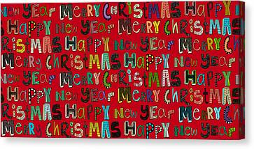 Merry Christmas Happy New Year Red Canvas Print by Sharon Turner