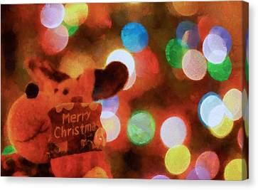 Merry Christmas Sign And Lights Canvas Print by Dan Sproul