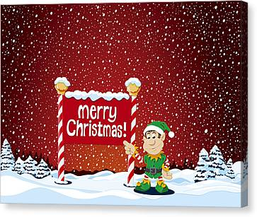 Merry Christmas Sign Christmas Elf Winter Landscape Canvas Print by Frank Ramspott